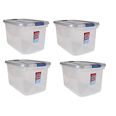 Rubbermaid 1785785 Clear Roughneck Storage Tote Box, 66-Quart, Case of 4