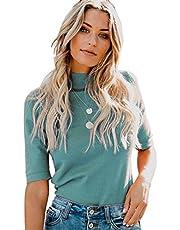 LIYOHON Women's Summer Plain T-Shirt Mock/Turtle Neck Half Sleeve Blouses Slim Fitted Casual Cute Tee Tops