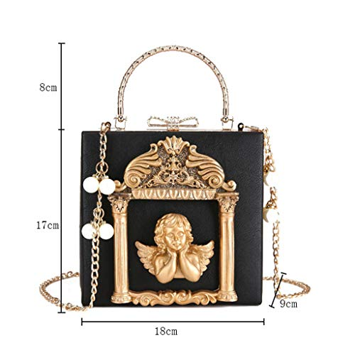 Tamaño Bolso 9cm 18x17x9cm Cadena Bolso Colores 18 Negro 4 Relieve De 17 Nj La Manera Mujer En Del Grabado Negro color qpU5n