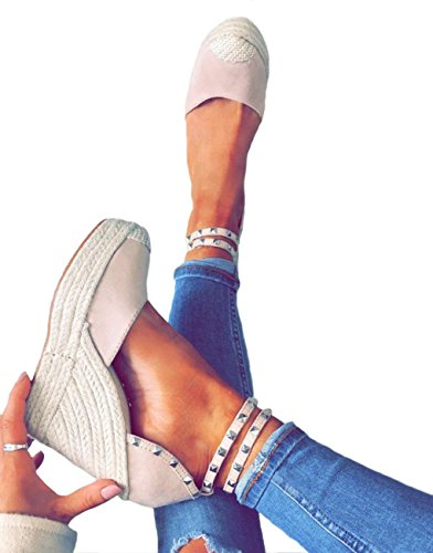 Tomwell Womens Sandals Summer Wedge Heel Espadrilles Party Shoes Stylish Rivet Roman Sandals Casual Holiday Fashion Buckle Party Shoes Pink IuhUOO