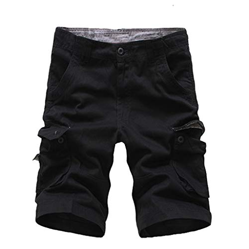 Casual Shorts for Men Forthery Sweatpants Slacks Casual Elastic Joggings Sport Solid Baggy Pockets Trousers(Black,42)