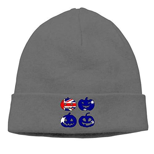 Mens and Womens Knit Hat, Soft Australia Halloween Pumpkin Head Skull Cap for Mens -