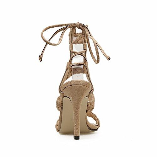 Dance Di Tacco KJJDE Donna Processo GZSL Di 19 Pesce Alto Elegante Pole 188 Di Sexy Super beige Moda Tessitura Testa High Sandali Heels Sexy 45w5q18