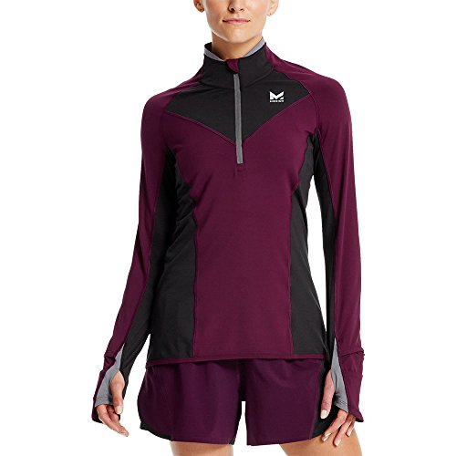 Mission Women's VaporActive Stamina Lightweight 1/4 Zip Long Sleeve Shirt, Potent Purple/Moonless Night, Small