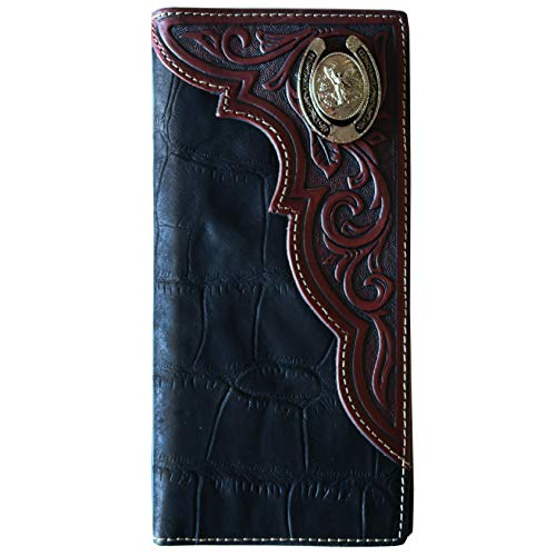 Men's Genuine Leather Wallet Long Bifold Western Wallet for Men, Angel