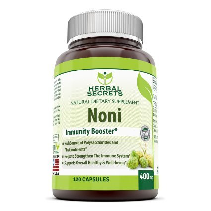 Herbal Secrets Noni - 400 mg Capsules Made From Tahitian Noni Fruit From the Morinda Citrifolia Plant - Powder Can Also Be Used to Make Juice or Tea - 120 Capsules Per Bottle