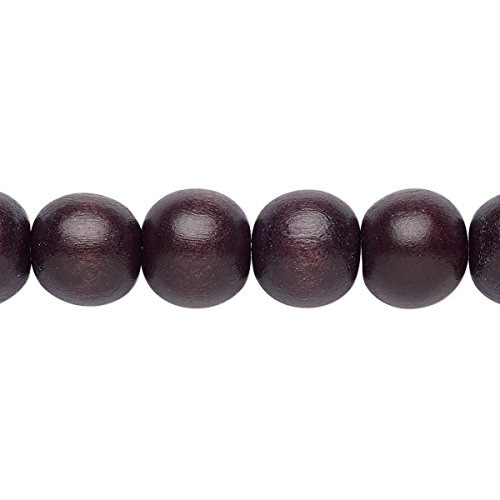 Bead wood (dyed / waxed) chocolate brown 9-10mm round with 2-2.5mm hole (Mm Dyed 10 Chocolate)