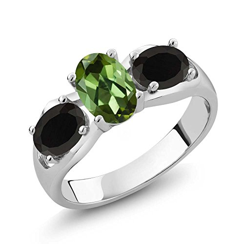 Gem Stone King 1.48 Ct Oval Green Tourmaline Black Onyx 925 Sterling Silver Ring (Size 8)