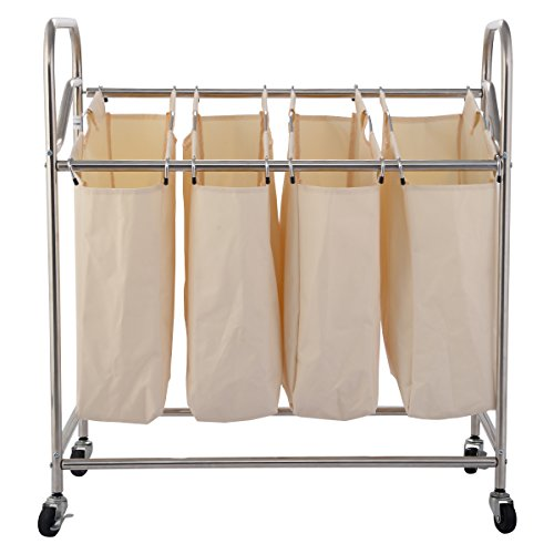 NEW Heavy-Duty 4-Bag Laundry Sorter Rolling Cart Hamper Organizer Beige 4 Wheels