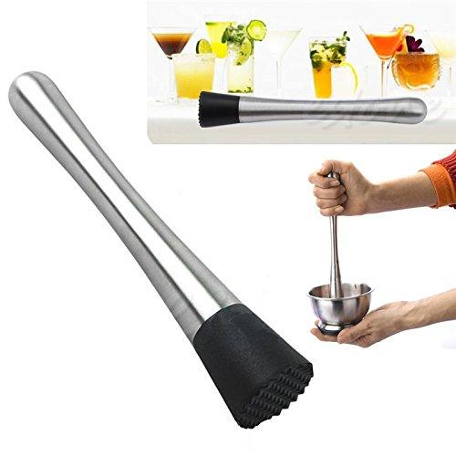 GenericQWENNZEE Stainless Steel Cocktail Muddler Bar Mixer Barware Drinking DIY Drink Fruit Pestles Crushed Muddler Bar Tool by GenericQWENNZEE