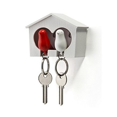 Duo Sparrow Key Holder by Qualy Design. Wall Mounted Bird House and Two Bird Key Fobs. Great Key Hook for Couple. Cool Gift for Her and Him. White Birdhouse. White and Red Keyring Birds.