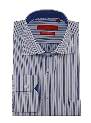 (DTI GV Executive Mens Striped Dress Shirt Cotton Spread Collar Barrel Cuff (15