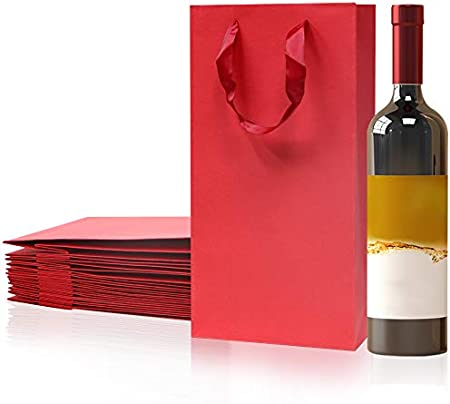 Paquete de 12 bolsas de transporte para botellas de vino, 2 botellas, papel blanco y vino tinto bolsas de transporte con asas (rojo)
