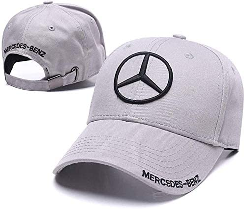Westion Mercedes-Benz Logo Embroidered Adjustable Baseball Caps for Men and Women Hat Travel Cap Car Racing Motor Hat Black and Gold