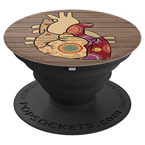 Sassy Southern Charm & Grace Cute Unique & Trendy Folk Art Heart on Rustic Wood on Black for Wireles - PopSockets Grip and Stand for Phones and Tablets ()