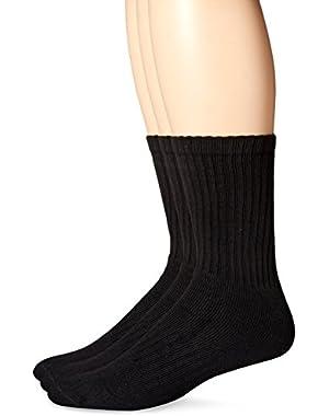 Men's 3 Pack Enhanced and Soft Feel Cushion Crew Socks
