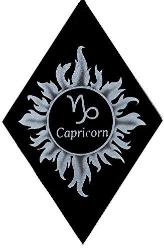 Carved Glass Capricorn Zodiac Decorative Sun (Capricorn Art Glass)