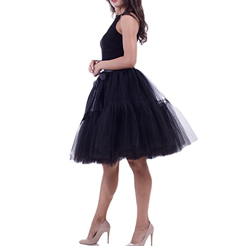 Prom Skirt Halloween Cosplay Midi Tulle Skirt Women's Princess Petticoat (Black, L) -