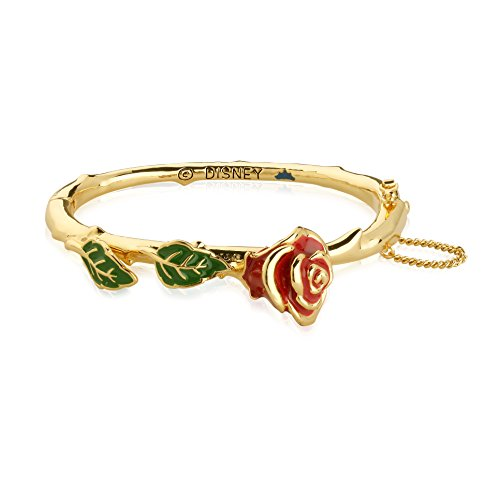(Disney Couture Beauty and the Beast Enchanted Rose Bangle - Yellow Gold Plated)