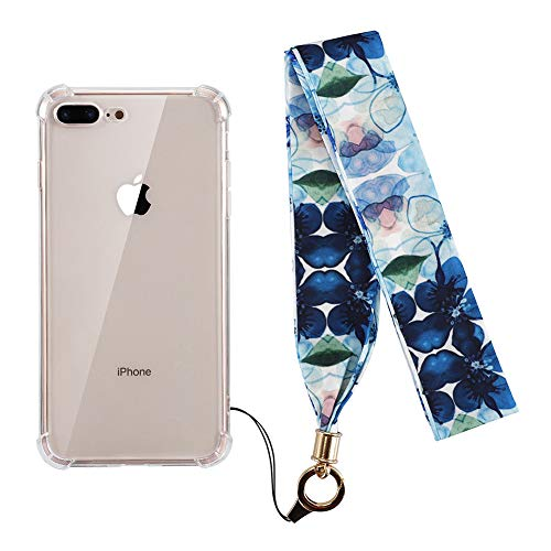 (KERZZIL iPhone 8 Plus Case,iPhone 7 Plus Case,Crystal Clear Shockproof Anti-Yellow Anti-Scratch Free Silk Lanyard Included Cover Compatible with iPhone 8Plus/7Plus (Blue Flower))