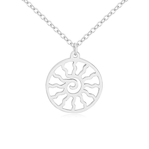 Plated Fashion Pendant Silver (NOUMANDA Rose Gold Silver Plated Copper Flaming Sun Pendant Fashion Circle Necklace Charm Gift (Silver))