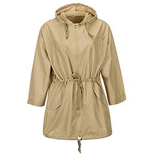 QZUnique Women's Lightweight Long Raincoat With Pockets Waterproof Packable Drawstring Raincoats Windbreak Jackets Khaki