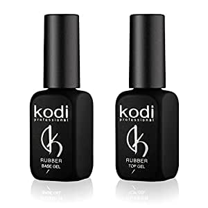 Professional Rubber Top & Base Gel Set By Kodi | 12ml 0.42 oz | Soak Off, Polish Fingernails Coat Kit | For Long Lasting Nails Layer | Easy To Use, Non-Toxic & Scentless | Cure Under LED Or UV Lamp