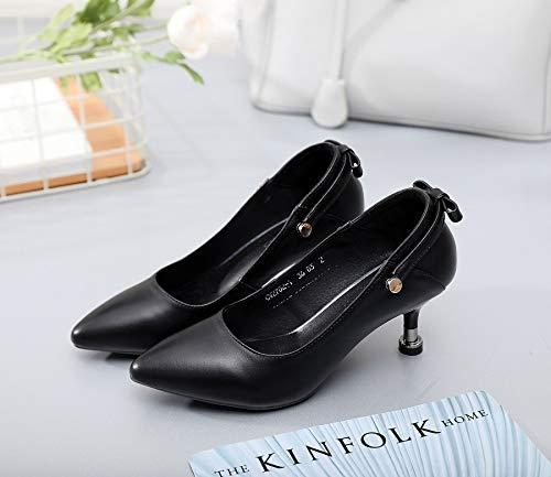 HOESCZS Frühling Neue Damenschuhe Leder High Heel Damenschuhe Niedrig Zu Helfen, Flachen Mund Einzelne Schuhe Arbeitsplatz Kleid Schuhe  | Queensland  | Clearance Sale