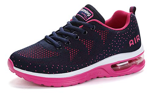 women sport trail running shoes 2019 summer air cushion flyknit breathable comfort athletic walking shoes ladies youth girls tennis shoes gym workout fashion sneakers Rosered Size 8 (A35-Rosered-39)