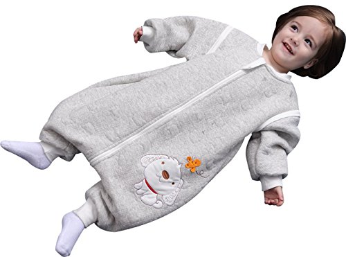 Luyusbaby Early Walker Removable Sleeve Baby Wearable Blanket with Feet Autumn&Winter,Grey,Medium by Luyusbaby