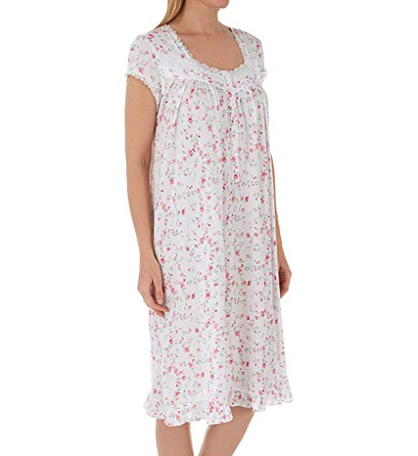 Eileen West Women's Plus Size Cotton Modal Jersey Short Nightgown White Ground Viney Floral 1X -