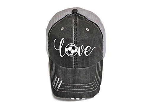 White Glitter Soccer Love Distressed Look Grey Trucker Cap Hat Sports (Soccer Mom Ball Cap)