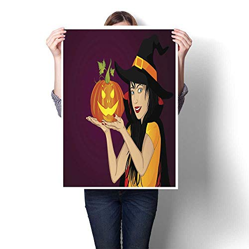 Wall Art Oil PaintingS Halloween A happy woman in a hat and a witch costume holds a pumpkins in her hands Wow Vector Greeting card or invitation f Decorative Fine Art canvas Print Poster K 24
