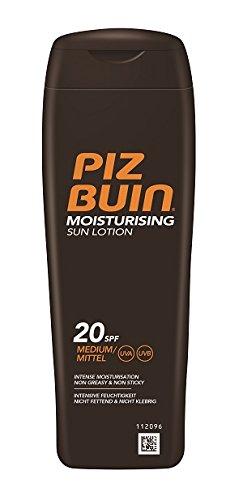 PIZ BUIN Moisturising Sun Lotion LSF 20 / Mittlerer Schutz / Feuchtigkeitsspendende, wasserfeste Sonnenlotion / Sonnenschutz vor UVA & UVB Strahlen / Klebt nicht / 200ml