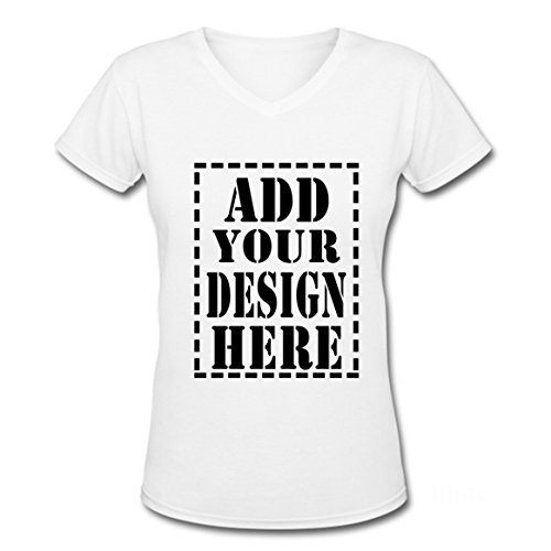 Ladies Trendy Add Your Custom Design Here V-Neck T shirts (M, White)