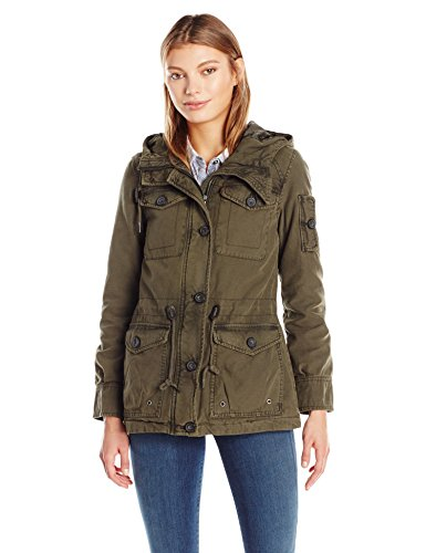 (Levi's Women's Cotton Four Pocket Hooded Field Jacket, Army Green, XL)