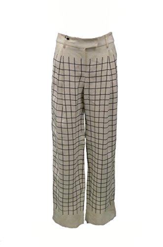 s-maxmara-womens-check-linen-blend-corte-pants-sz-8-black-ivory-90542mm