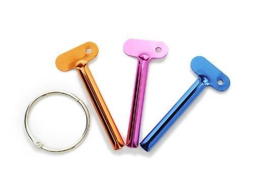 Lot of 3 Colored Metal Tube Squeezer Roller Key Set Toothpaste Squeezer Keys Metal Hair Dye Color Key Roller Dispenser Tool