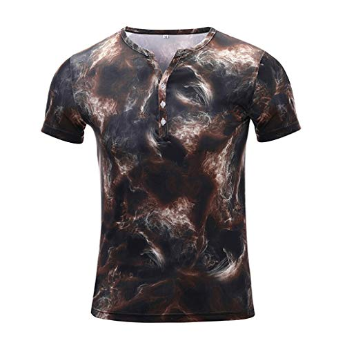 Mens Fashion Summer Colorful Printed Lightning Short Sleeve Fit Casual T-Shirt Blouse Tops Yellow