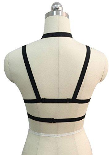 Harnais de poitrine sangles noires tour de cou burlesque bondage gothique lingerie