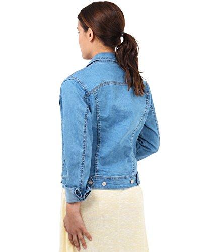 KRISP Womens Denim Jean Jacket Button Down 80s Retro Design Size 4 6 8 10 12