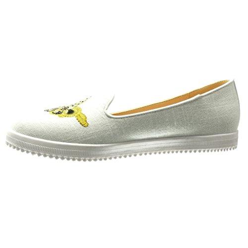 Angkorly - Scarpe da Moda Mocassini Jeans Denim slip-on suola di sneaker donna ricamo strass fantasia Tacco tacco piatto 0 CM - Bianco