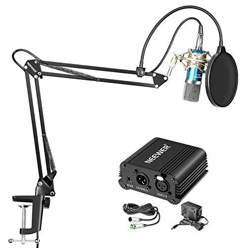 (Neewer Condenser Microphone Kit - NW-700 Mic(Blue), 48V Phantom Power Supply(Black),NW-35 Boom Scissor Arm Stand, Shock Mount(Silver), Pop Filter,XLR Male to Female Cable for Home Studio Recording)