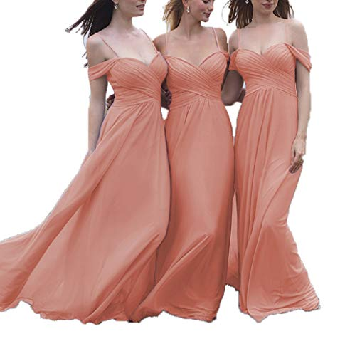 5f8e7aca94aba Lover Kiss Wedding Bridesmaid Dresses Coral Cold Shoulder Long Pleated  Chiffon Evening Gown