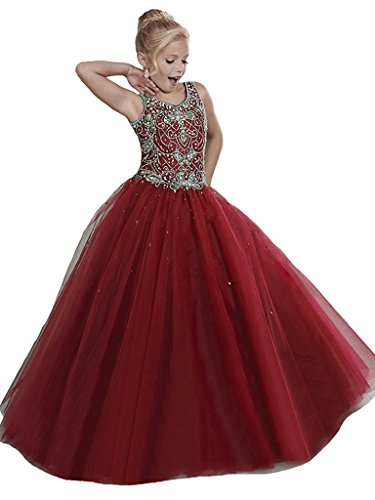 Girls Pageant Dresses Handmade Beading Flower Girl Birthday Party Gowns Custom Made Burgundy by WZY