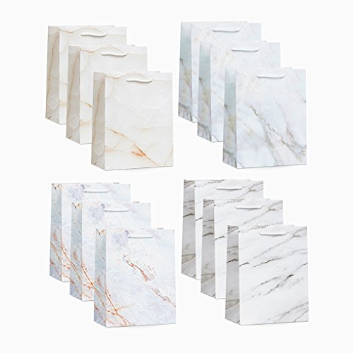 UNIQOOO 12 Pack Medium Size Marble Print Holiday Gift Bags– Premium Bulk Assorted 4 Design Gift Bag with Handles – Perfect For Birthday, Wedding, Christmas, New Year, Housewarming and Party (Personalized Cherry Blossom Lip Balm)