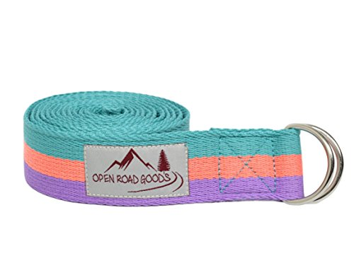 8ft Extra Long 100% Cotton Yoga Strap with Bag: Pastel Multicolor (Teal, Coral, Purple)