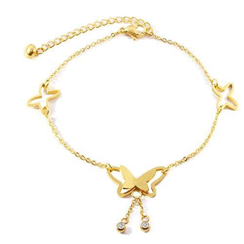 Forise Stainless Steel Gold Color Butterfly Anklets for Women Girls Adjustable Beach Fashion Foot Jewelry