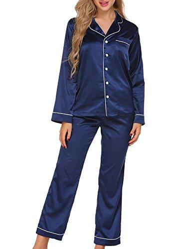 Ekouaer Womens Satin Sleepwear Long Sleeve Loungewear Two Piece Pajama Set S-XXL