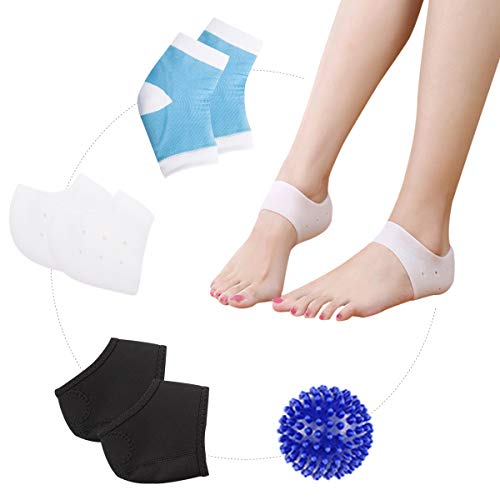HLYOON Plantar Fasciitis Kit-7PCS Plantar Fasciitis Sleeve Gel Heel Protectors Ankle Brace, Heel Support, Socks, Foot Massage Ball for Metatarsal Pain,Foot Arch Support,Relieve Foot Pain